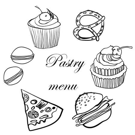 pastries: tasty menu pastries black and white sketch vector illustration