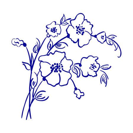 Bouquet of flowers line vector ink sketch