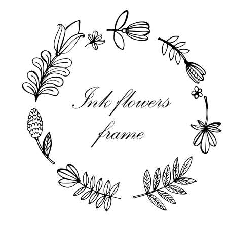 heather: floral frame hand-drawn ink vector illustration