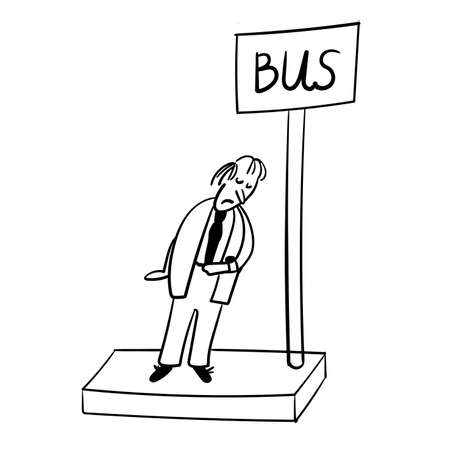 worried executive: a man at the bus stop waiting for the bus comic illustration Illustration