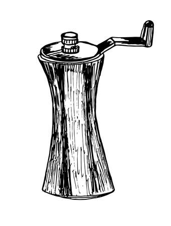 pepper mill: table pepper mill sketch graphic vector illustration