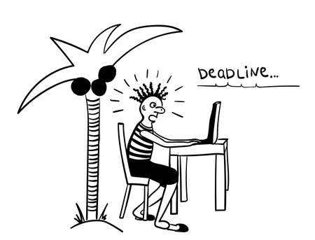 distant work: deadline from freelancers on the southern island comic vector illustration Illustration