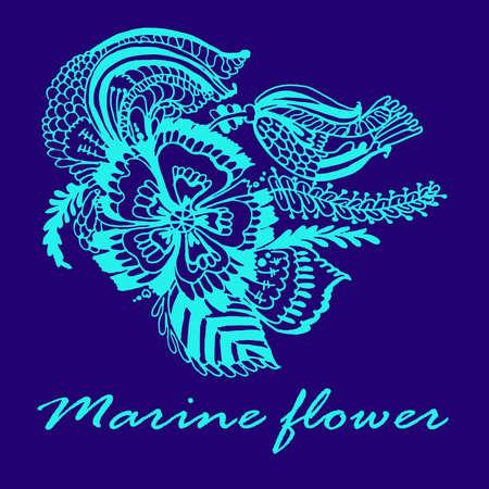 azul turqueza: Patrón de flor marina tarjeta azul turquesa ilustración vectorial