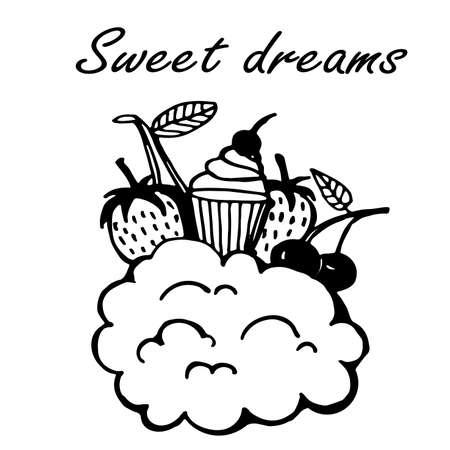 sweet dreams: sweet dreams doodle sketch vector outline illustration Illustration