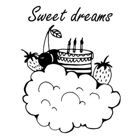 dulces sue�os: Tarjeta dulces sue�os con la nube, torta y bayas dibujo Ilustraci�n del vector del Doodle