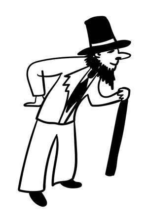 satire: young male actor with a fake beard pretending old comic vector illustration Illustration