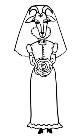 parody: goat-bride in her wedding dress with a bouquet of comic cartoon outline vector illustration