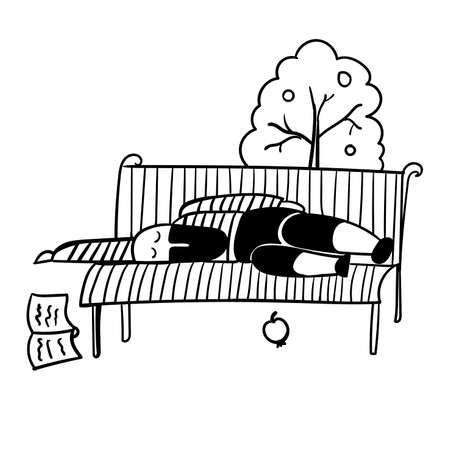 mimicry: a man with a black beard in a striped vest fell asleep on a park bench with a book vector illustration