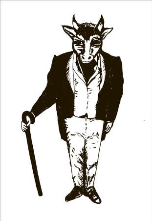 parody: gentleman in a frock coat, waistcoat, gloves and a cane with a bulls head graphic sketch hand drawn vector illustration Illustration