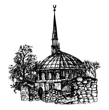 old church: ink hand drawn sketch view of the mosque and the ruins of an old church in Istanbul, graphic vector illustration