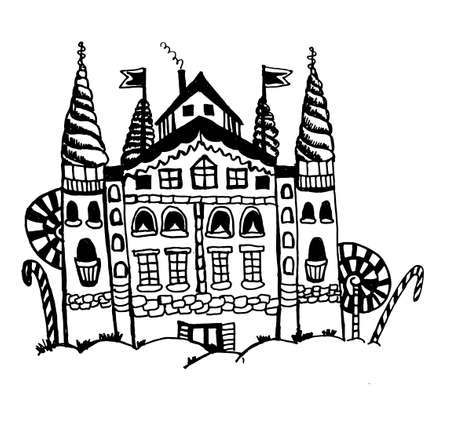 fairytale castle: fairytale castle with towers and trees of caramel candies doodle ink vector illustration Illustration