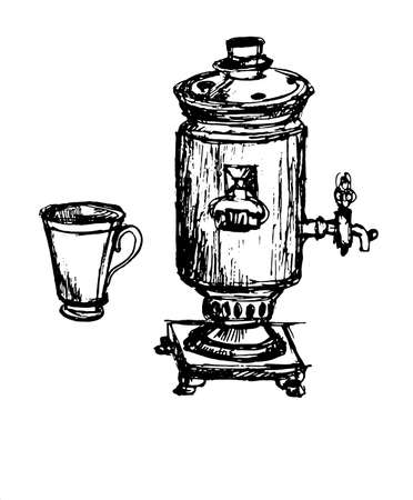 centenarian: a century old samovar and a cup from the service schedule sketch vector illustration Illustration