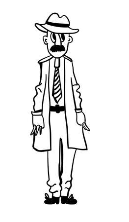 Adult male figure in a cloak with pockets full of holes comic vector contour illustration