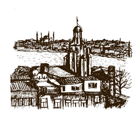 aya sofia: cityscape view Beyglou district and the old town with the Galata Tower in Istanbul, graphic sketch vector illustration
