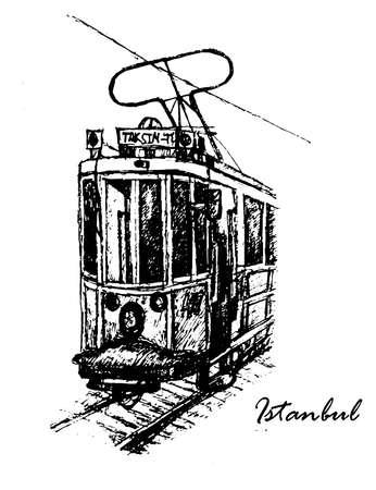 vintage tram Taksim-Tnel on Istiklal Street in Istanbul, graphic sketch vector illustration
