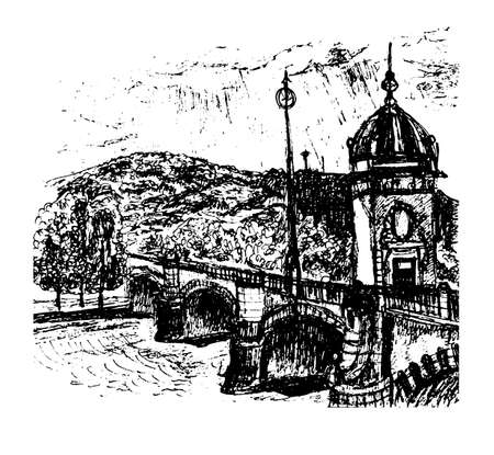 View of the old bridge with a tower over the Vltava river and Petrin Hill in Prague Illustration