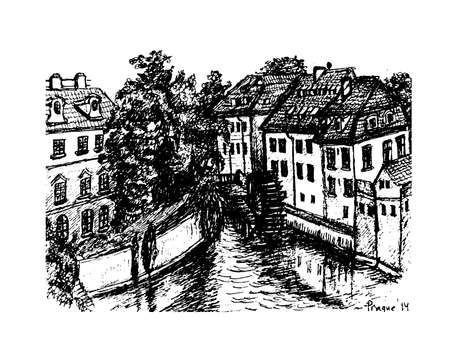 watermill: view of the houses on the banks of the Vltava, the river Devil and water mill in the old town in Prague Vector Graphics Ink