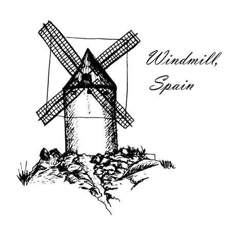 Don Quijote Molinos de viento en Consuegra España boceto gráficos dibujados a mano ilustración vectorial de tinta