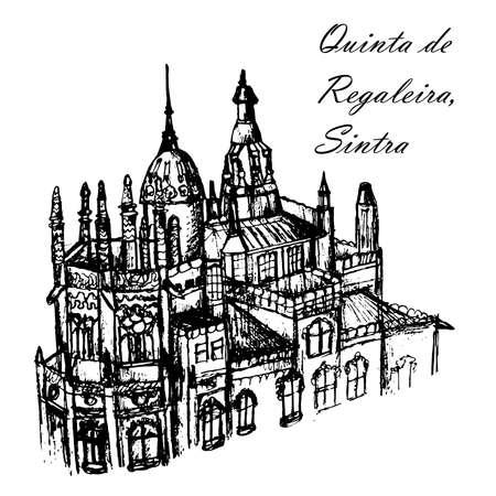 manor house Quinta de Regaleira in Sintra in Portugal ink sketch hand-drawn vector illustration Vectores