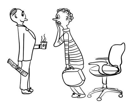jovial: HR Specialist meets candidates at a job interview comic vector illustration Illustration