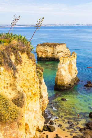 vilamoura: background landscape view of the beach and islands in Lagos, Portugal