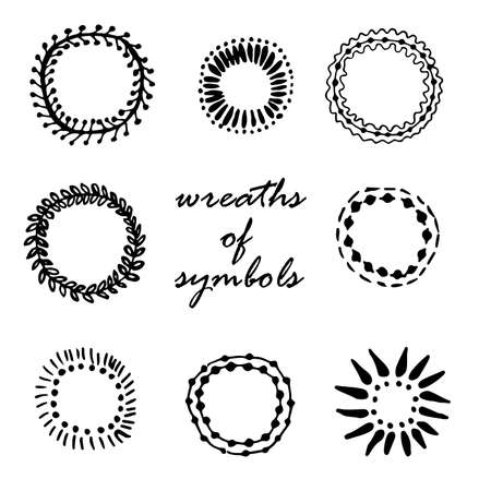 circle flower: framing wreaths of symbols hand drawn vector illustration