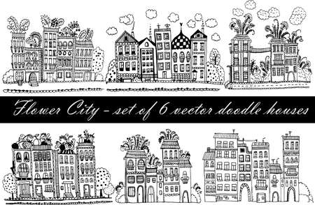 balcony view: Flower City - a set of 6 vector illustrations with funny fantasy houses in the style of doodle cartoon Illustration