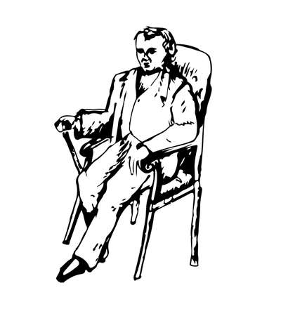 high society: Vintage hand drawn vector illustration of gentleman in a suit sitting in a chair Illustration