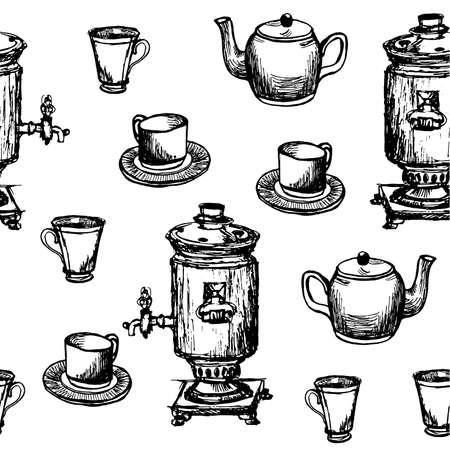 samovar: Seamless background pattern hand drawn samovar, teapot and cups graphic black vector illustration