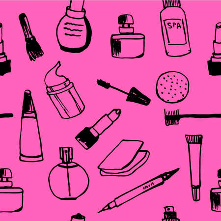 eau de perfume: Background seamless pattern of female cosmetics on a pink background sketch hand-drawn vector illustration Illustration