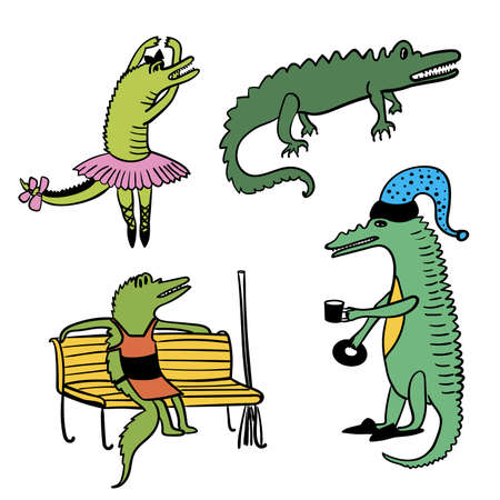 caiman: Crocodiles funny bright multi-colored comic set outline cartoon vector illustration