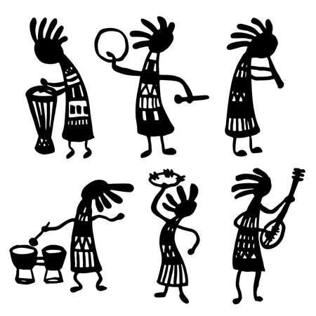 lute: set of isolated objects Doodle sketch vector illustration of African musicians
