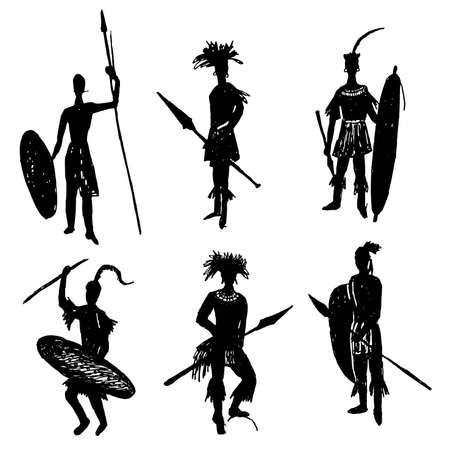 tribu: guerreros tribales africanos en el traje de batalla y los brazos de dibujo ilustración vectorial croquis dibujado a mano Vectores