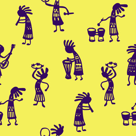 fife: background seamless pattern African men musicians with tools on a yellow background sketch Doodle Vector Illustration