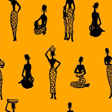 etnia: fondo sin fisuras patrón ornamento hermosa mujer africana con niños y utensilios de siluetas negras ilustración vectorial sobre un fondo naranja