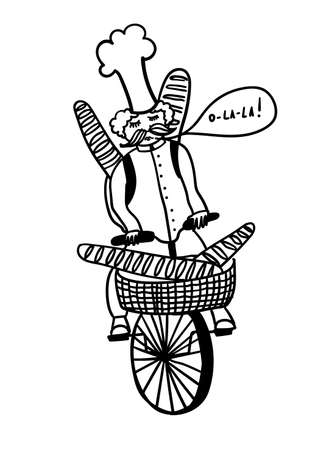French chef rides a bicycle and carries fresh baguettes, comic outline