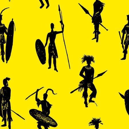 african warriors: background seamless pattern African tribal warriors in the battle suit and arms drawing sketch hand-drawn vector illustration on a yellow background