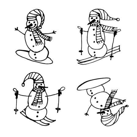 snowboarding: Snowmen skiing and snowboarding Christmas set isolated outline vector illustration Illustration