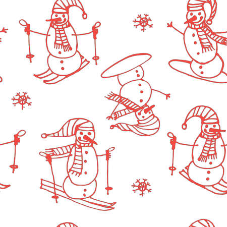 somersault: red background seamless pattern of snowmen go skiing and snowboarding contour cartoon