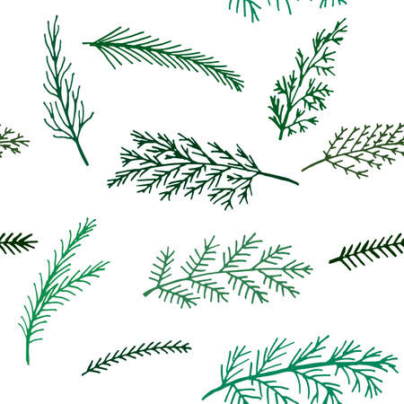 twigs: Seamless New Year and winter pattern background spruce twigs on a white background