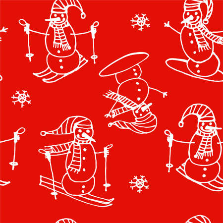 somersault: Christmas seamless pattern of white outline snowmen go skiing and snowboarding on a red background vector illustration
