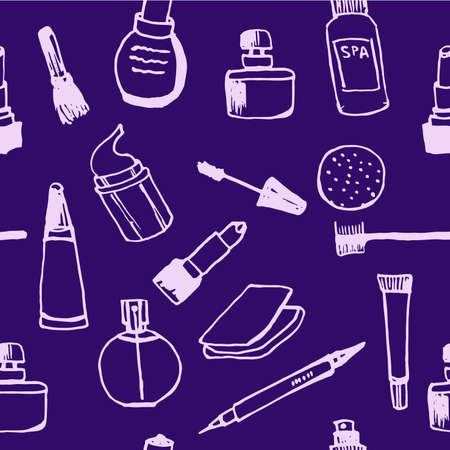 toilette: Simless background pattern set Collection of womens cosmetics contour doodle vector illustration on a violet background