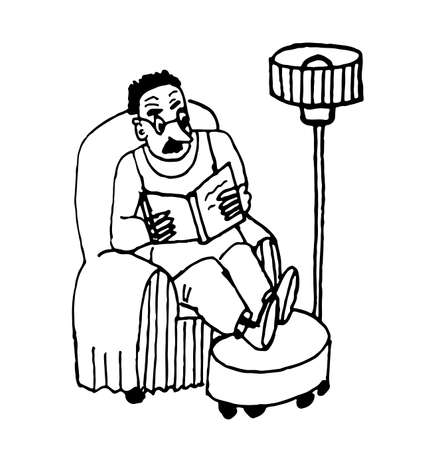 shortsighted: man with glasses in shirt sitting in a chair in the living room reading a newspaper, comic cartoon vector illustration Illustration