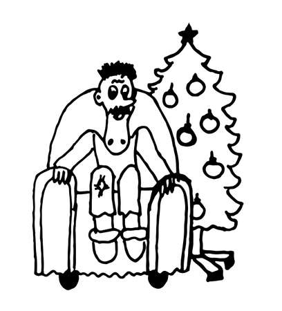 a man sitting in a chair in the living room next to the Christmas tree comic caricature cartoon outline vector illustration Illustration