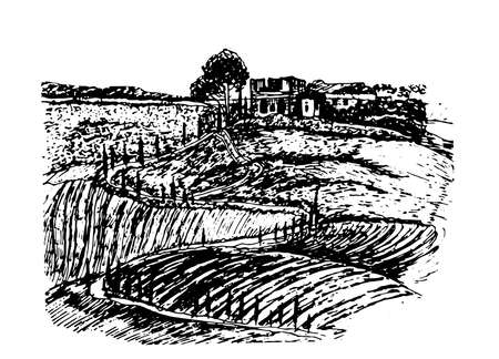 tuscan: drawing beautiful landscape of Tuscany fields with the ruins of the castle on the hill sketch ink hand drawn vector illustration