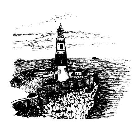 europa: Gibraltar landscape lighthouse at Cape Point Europe overlooking the Atlantic Ocean and the Strait of Gibraltar, ink sketch graphic vector illustration