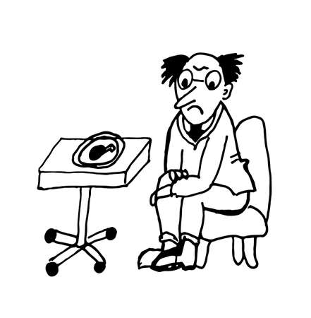 fried chicken: a man on a diet looking at a fried chicken leg sitting in a chair contour caricature sketch comic vector illustration Illustration