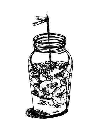 souffle: dessert jar with souffle and bananas hand drawn graphic sketch illustration