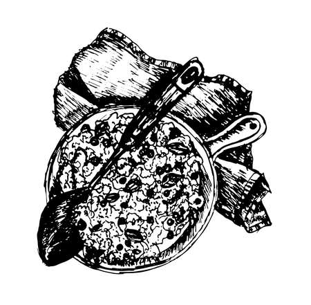 cooked rice: hot delicious paella with rice and meat in a frying pan on a table decorated with denim cloth sketch hand drawn ink vector illustration Illustration
