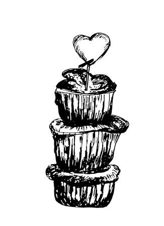 pinnacle: Dessert pinnacle of the three sponge cakes with powdered sugar sketch ink illustration
